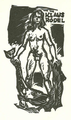Exlibris by Rudolf Koch from Germany for Klaus Rödel - Fish Woman Nude
