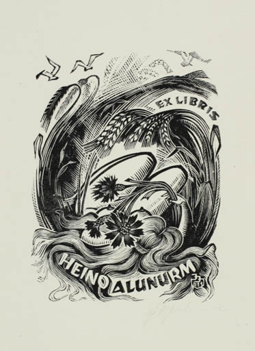 Exlibris by Johannes Juhansoo from Estonia for Heino Alunurm - Flora Woman