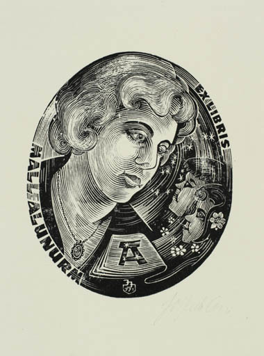 Exlibris by Johannes Juhansoo from Estonia for Mall Alunurm - Child Woman Portrait