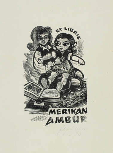 Exlibris by Johannes Juhansoo from Estonia for Merikan Ambur - Book Child