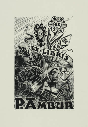 Exlibris by Johannes Juhansoo from Estonia for Paul Ambur - Flower Book Flora