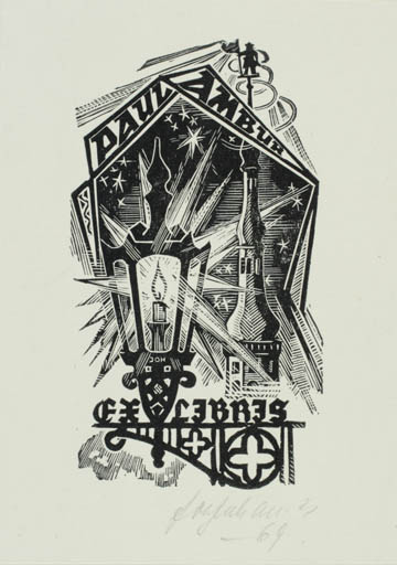 Exlibris by Johannes Juhansoo from Estonia for Paul Ambur -
