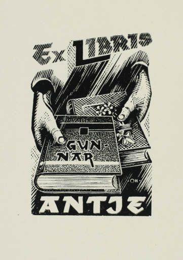 Exlibris by Johannes Juhansoo from Estonia for Gunner Antje - Book Hand(s)