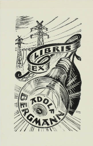 Exlibris by Johannes Juhansoo from Estonia for Adolf Bergmann - Technology