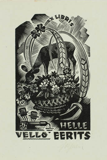 Exlibris by Johannes Juhansoo from Estonia for Helle Vello Eerits - Flower Fauna Flora
