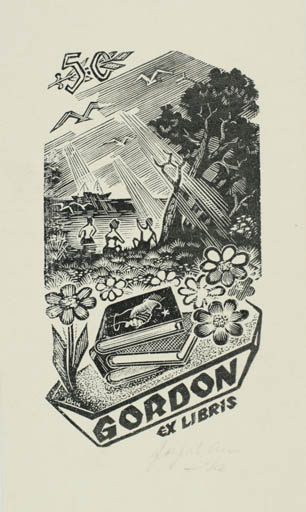 Exlibris by Johannes Juhansoo from Estonia for ? Gordon - Book Scenery/Landscape Maritime