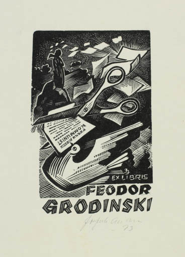 Exlibris by Johannes Juhansoo from Estonia for Feodor Grodinski - Abstract Fauna