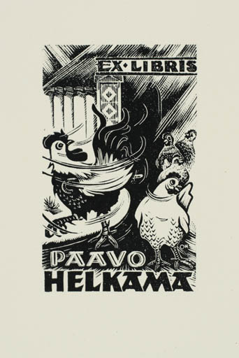 Exlibris by Johannes Juhansoo from Estonia for Paavo Helkama - Fauna Bird