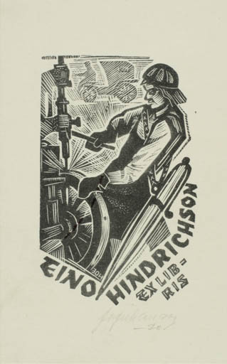 Exlibris by Johannes Juhansoo from Estonia for Eino Hindrichson - Working Man Technology