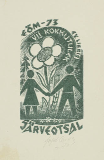 Exlibris by Johannes Juhansoo from Estonia for ? Järveotaal - Flower Flora Couple