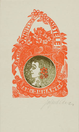 Exlibris by Johannes Juhansoo from Estonia for Johannes Juhansoo - Flora Woman Portrait