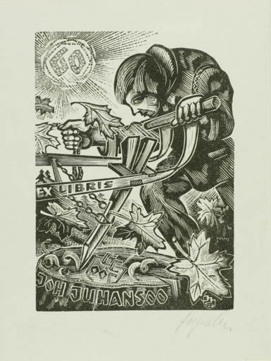 Exlibris by Johannes Juhansoo from Estonia for Johannes Juhansoo - Working Man Sun
