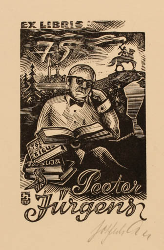 Exlibris by Johannes Juhansoo from Estonia for Peeter Jürgens - Book Horse Man Knight