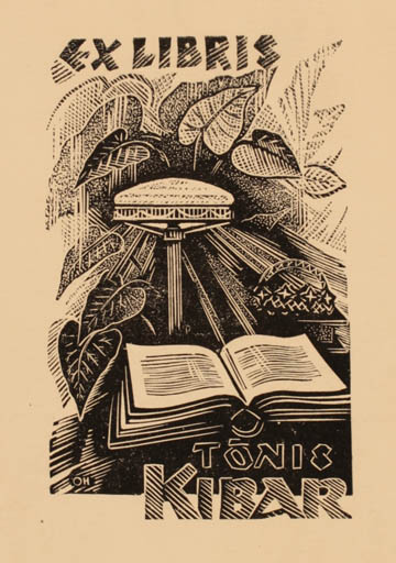 Exlibris by Johannes Juhansoo from Estonia for Tonis Kibar - Book Flora
