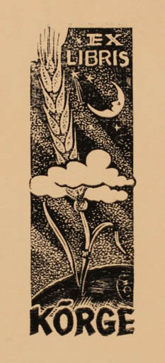 Exlibris by Johannes Juhansoo from Estonia for ? Korge - Flora Cosmos