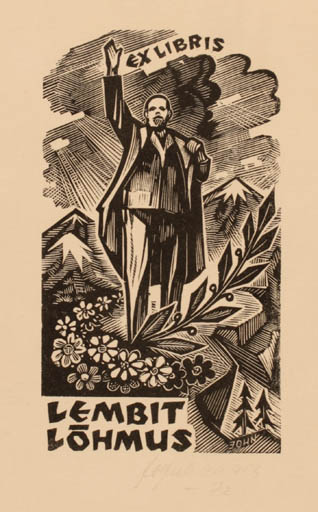 Exlibris by Johannes Juhansoo from Estonia for Lembit Löhmus - Mountain Scenery/Landscape Man Historical Person