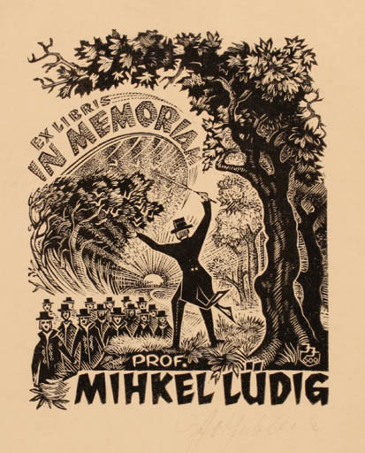 Exlibris by Johannes Juhansoo from Estonia for Mihkel Lüdig - Group Scenery/Landscape Music Forest Sun