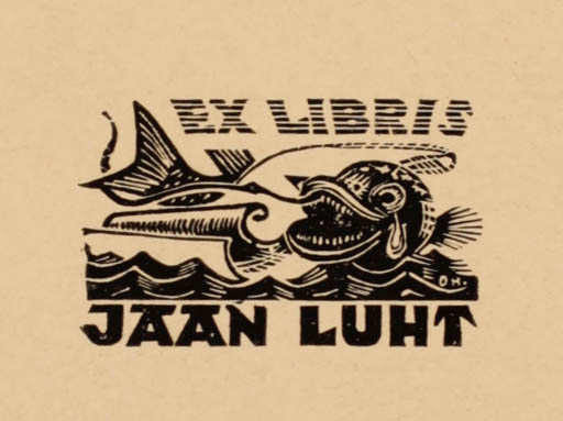 Exlibris by Johannes Juhansoo from Estonia for Jaan Luht - Fish