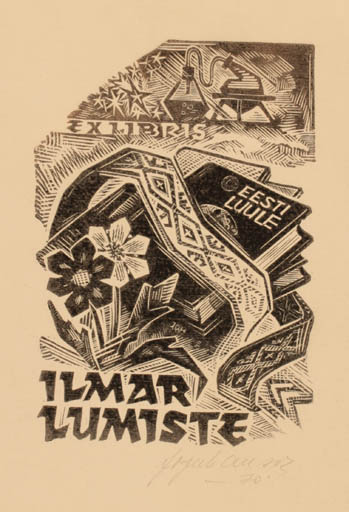 Exlibris by Johannes Juhansoo from Estonia for Ilmar Lumiste - Book Science