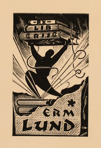 Exlibris by Johannes Juhansoo from Estonia for Erm Lund - Book Man