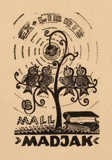 Exlibris by Johannes Juhansoo from Estonia for Mall Madjak - Book Bird