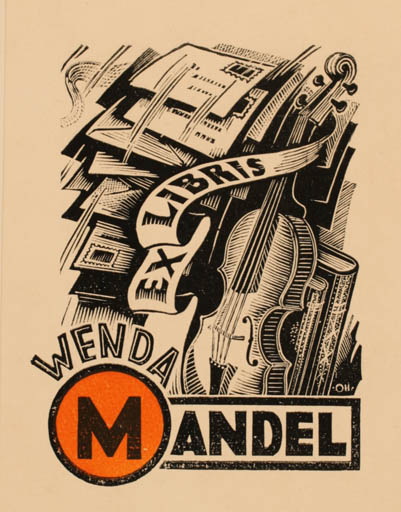 Exlibris by Johannes Juhansoo from Estonia for Wenda Mandel - Book Music