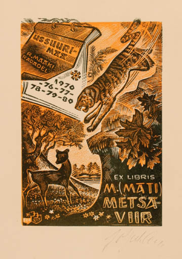Exlibris by Johannes Juhansoo from Estonia for Mati Metsaviir - Fauna Scenery/Landscape