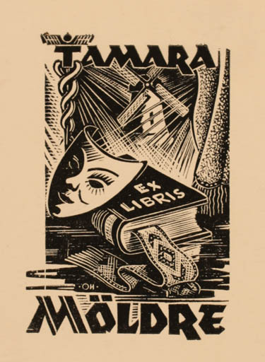 Exlibris by Johannes Juhansoo from Estonia for Tamara Möldre - Book Mill Theater/Cirkus