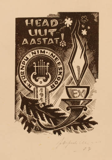 Exlibris by Johannes Juhansoo from Estonia for Nim K. Türnpu Meeskoor - Music