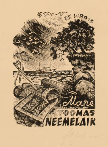Exlibris by Johannes Juhansoo from Estonia for Toomas Neemelaik - Scenery/Landscape Maritime