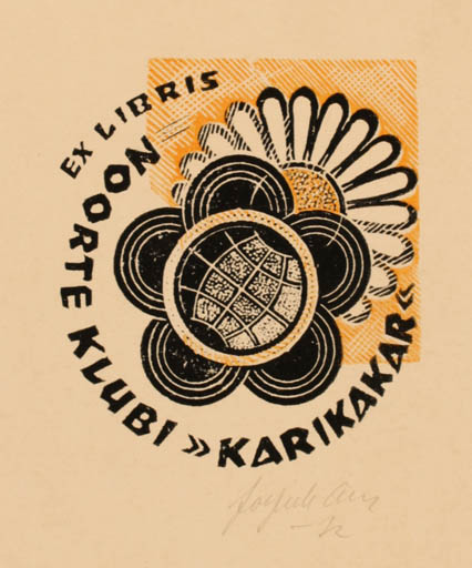 Exlibris by Johannes Juhansoo from Estonia for ? Noorte Klubi Karikakar - Flower Globe