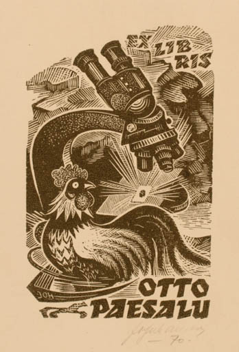Exlibris by Johannes Juhansoo from Estonia for Otto Paesalu - Bird Science