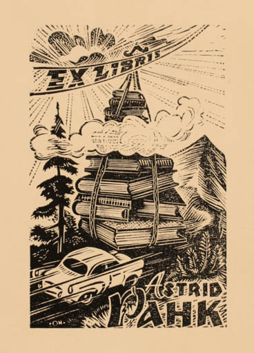Exlibris by Johannes Juhansoo from Estonia for Astrid Pahk - Car Book Scenery/Landscape