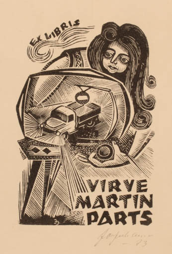 Exlibris by Johannes Juhansoo from Estonia for Virve Martin Parts - Car Woman Technology