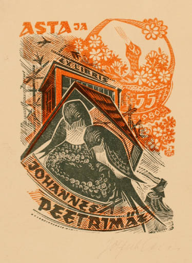 Exlibris by Johannes Juhansoo from Estonia for Johannes Peetrmetz - Bird
