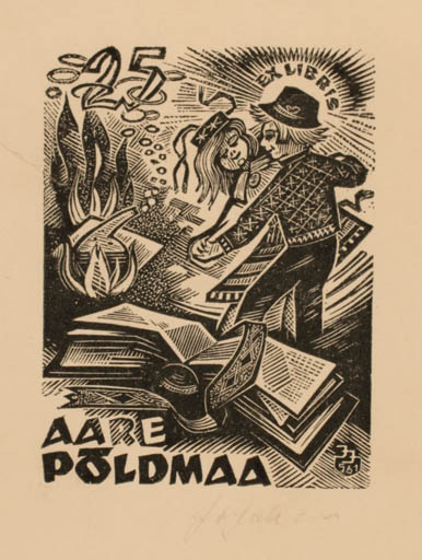 Exlibris by Johannes Juhansoo from Estonia for Aare Poldmaa - Book Dancing