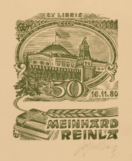 Exlibris by Johannes Juhansoo from Estonia for Meinhard Reinla - Architecture Book