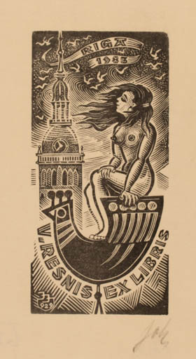 Exlibris by Johannes Juhansoo from Estonia for V. Resnis - Architecture Bird Woman Nude
