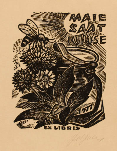 Exlibris by Johannes Juhansoo from Estonia for Maaie Saat Kuuse - Flora Insect