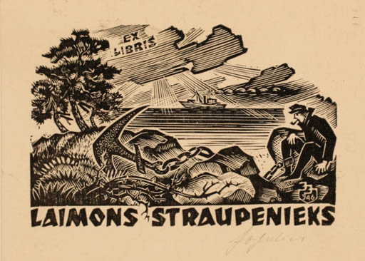 Exlibris by Johannes Juhansoo from Estonia for Laimons Straupenieks - Maritime