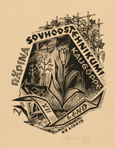 Exlibris by Johannes Juhansoo from Estonia for ? Ohne Namen - Flora