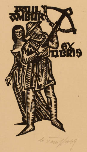Exlibris by Väino Tönisson from Estonia for Paul Ambur - Military/War Couple