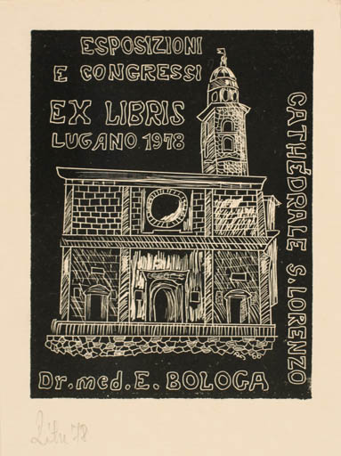Exlibris by A. Istvan Roth from Romania for Dr. Emil I. Bologa - Castle/Palace Exlibris Congress Church