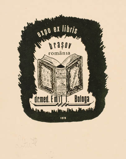 Exlibris by A. Istvan Roth from Romania for Dr. Emil I. Bologa - Book