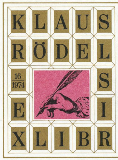 Exlibris by Otto Kuchenbauer from Germany for Klaus Rödel - Text/Writing