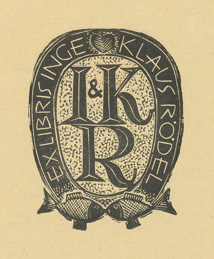 Exlibris by Jerzy Druzrycki from Poland for Klaus & Inge Rödel - Text/Writing