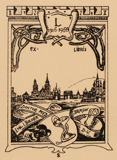 Exlibris by ? Unbekannt from Romania for Dr. Emil I. Bologa - City