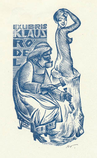 Exlibris by Wladimir G. Gontsjarow from Soviet Union for Klaus Rödel - Art Woman