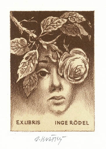 Exlibris by Bohumil Kratky from Czechoslovakia for Inge Rödel - Flower Portrait